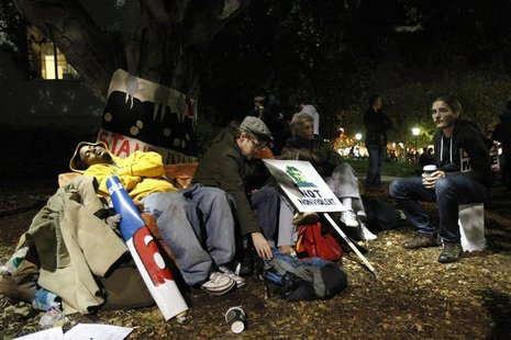 Occupy Cal demonstrators rest in Sproul Plaza in protest against Wall Street and police brutality at the University of California at Berkele
