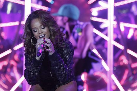 "Singer Rihanna performs during a concert as part of her tour for her latest album ""Loud"" in Nilson Nelson gymnasium in Brasilia"