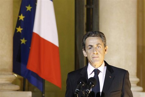 France's President Sarkozy makes a statement after ministerial meeting at the Elysee Palace in Paris