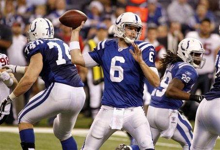 Colts' Orlovsky throws a pass under pressure from Texans during NFL football game in Indianapolis