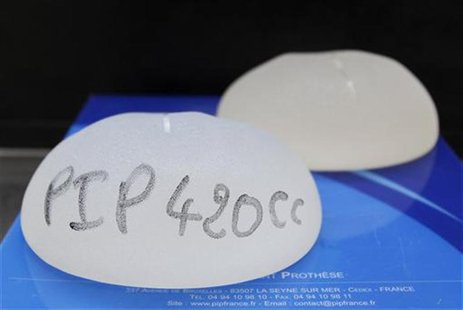 Silicone gel breast implants, manufactured by French company Poly Implant Prothese, are displayed at the office of plastic surgeon Denis Bou