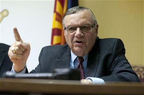 Maricopa County Sheriff Joe Arpaio talks to the media at the Sheriff's office in Phoenix