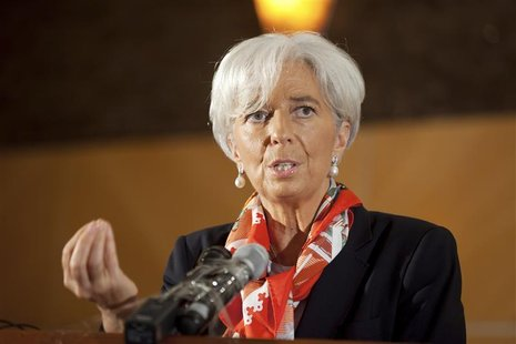 International Monetary Fund's Managing Director Christine Lagarde addresses a roundtable discussion in Lagos.