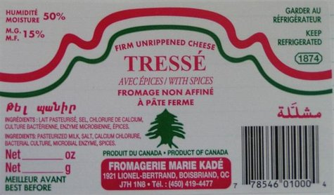 A label from a recalled package of Tresse cheese is seen in an undated handout photo