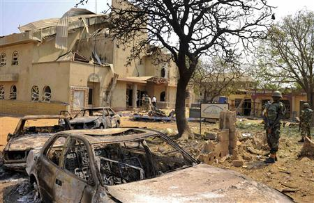 A view shows the scene of a bomb explosion at St. Theresa Catholic Church at Madalla, Suleja, just outside Nigeria's capital Abuja, December 25, 2011. Islamist militant group Boko Haram said it planted bombs that exploded on Christmas Day at churches in Nigeria, one of which killed at least 27 people on the outskirts of the capital. 