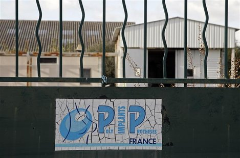 The locked entrance of the French company Poly Implant Prothese building is seen in La Seyne-sur-Mer near Toulon