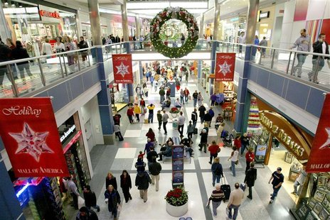 Dozens of holiday shoppers get an early start at the Mall of America in Bloomington, Minnesota