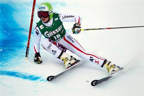 Austria's Fenninger clears a gate during the women's giant slalom World Cup race in Lienz