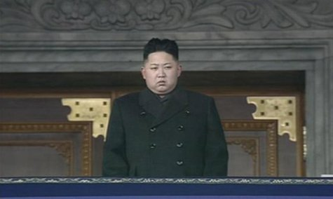 Frame grab shows North Korea's new leader Kim Jong-un looking on during the memorial for late North Korean leader Kim Jong-il in Pyongyang