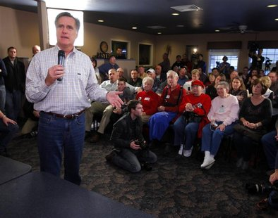 Republican presidential candidate Mitt Romney speaks during a campaign stop at the Family Table Restaurant in La Mars