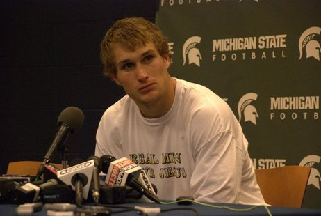 Michigan State quarterback Kirk Cousins is shown in a stock image from the Michigan game in 2010.  Cousins led the Spartans to a 33-30 victory over Georgia in the Outback Bowl Monday January 2nd, 2012.