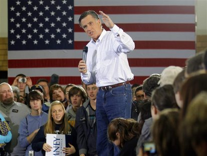 Republican presidential candidate and former Massachusetts Governor Mitt Romney speaks at a campaign rally in Clive, Iowa