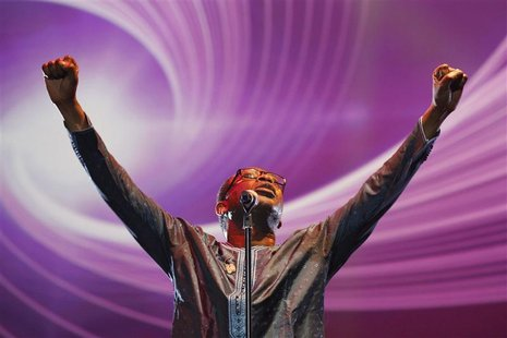 "Singer Youssou N'Dour performs at a concert called ""Africa Celebrates Democracy"" in Tunis"
