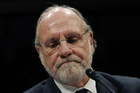 Corzine frowns as he testifies before a House Financial Services Committee Oversight and Investigations Subcommittee hearing on the collapse