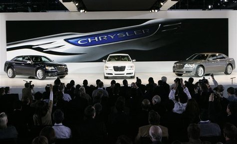 Chrysler 300 cars are displayed on stage during the press day for the North American International Auto show in Detroit