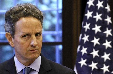 U.S. Treasury Secretary Timothy Geithner looks on during news conference with Italian Prime Minister Mario Monti in Milan