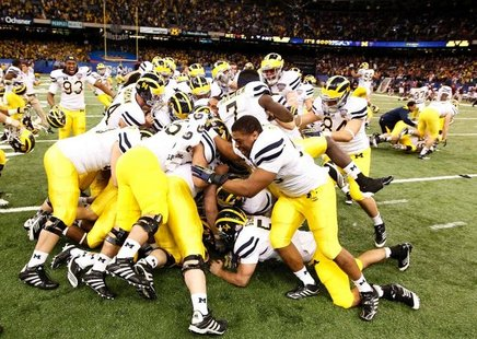 Michigan Wolverines after Sugar Bowl victory courtesy: REUTERS/Jon Bachman