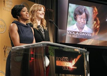 Actresses Regina King and Judy Greer announce Viola Davis as outstanding performance by a female actor in a leading role nominee for her wor