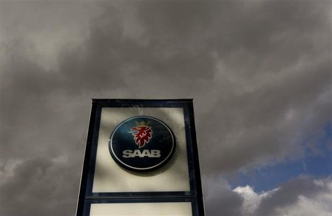The logo of Swedish car manufacturer Saab is pictured in front of a Saab dealer in Zurich