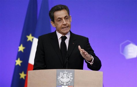 France's President Nicolas Sarkozy delivers a speech during the first meeting of accredited professionals at the French Economic, Social and