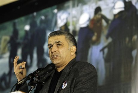 Bahrain Human rights Activist, Nabeel Rajab speaks at an anti-government gathering organised by al-Wafeq, in Budaiya west of Manama