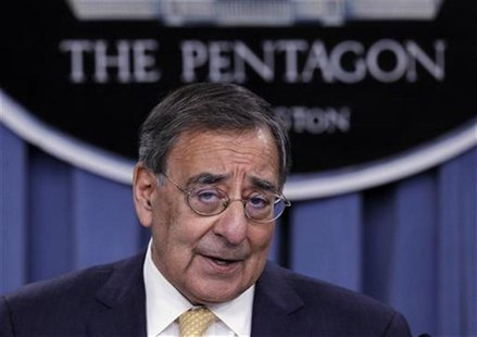 U.S. Secretary of Defense Leon Panetta details the Defense Strategic Review after it was introduced by U.S. President Barack Obama at the Pe