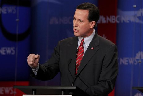 Republican presidential candidate Santorum makes a point during a Republican presidential candidates debate in Concord