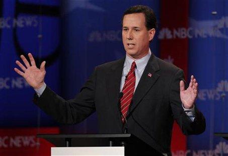 Republican presidential candidate Santorum speaks during a Republican presidential candidates debate in Concord