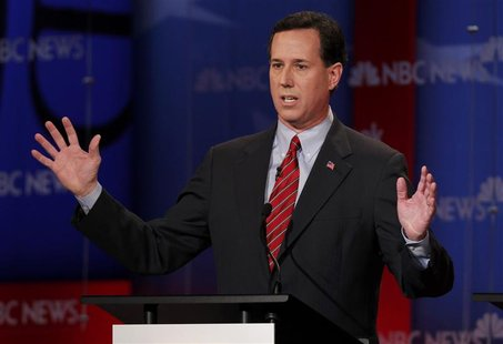 Republican presidential candidate Santorum speaks during a Republican presidential candidates debate in Concord