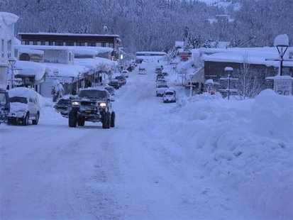 Handout photo of snow-covered downtown Cordova, Alaska