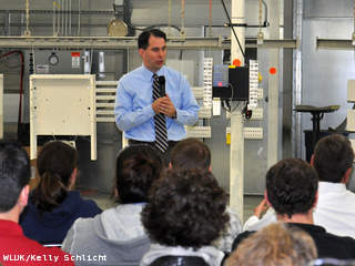 Gov. Scott Walker speaks on his Wisconsin Working plan at MCL Industries in Pulaski, Jan. 9, 2012. (courtesy of FOX 11).