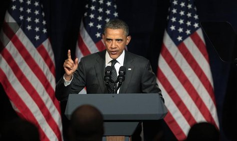 U.S. President Barack Obama speaks at a campaign event in Washington