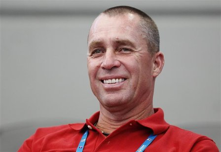 Lendl, the new coach of Britain's Murray, watches his match against Dolgopolov of Ukraine at the Brisbane International tennis tournament