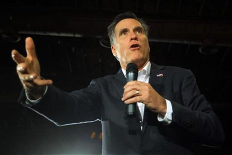 Republican presidential candidate and former Massachusetts Governor Mitt Romney speaks at a campaign rally in Columbia