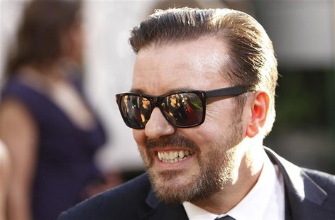 Golden Globe Awards host Ricky Gervais arrives at the 68th annual Golden Globes Awards in Beverly Hill