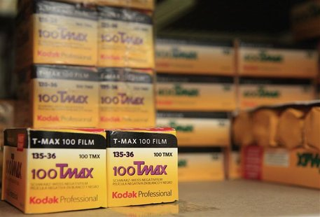 Rolls of Kodak TMax film are seen on a camera store shelf in New York