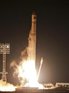 Zenit-2SB rocket blasts off from its launch pad at the cosmodrome Baikonur