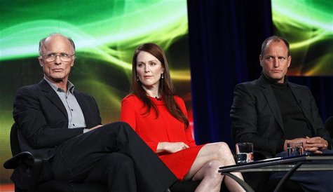 "Harris, Moore and Harrelson attend the panel for the HBO television film ""Game Change"" at the Television Critics Association winter press to"