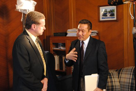 Sheboygan Mayor Bob Ryan and NBC's John Yang during an interview at City Hall Thursday morning.