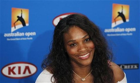 Serena Williams of the U.S. smiles at a news conference before Australian Open tennis tournament in Melbourne