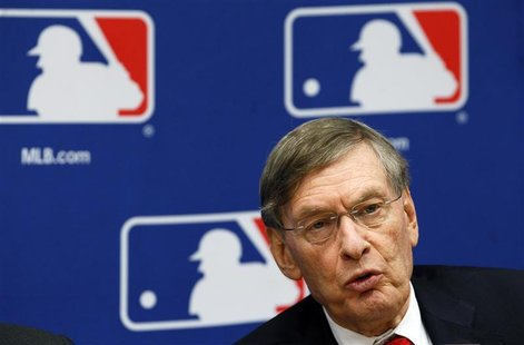 Major League Baseball Commissioner Bud Selig speaks at news conference to announce new collective bargaining agreement with players in New Y