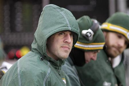Packers quarterback Aaron Rodgers on the sidelines at Lambeau Field. (Reuters)