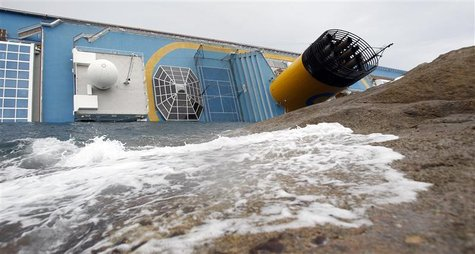 The Costa Concordia cruise ship is seen after it ran aground off the west coast of Italy, at Giglio island
