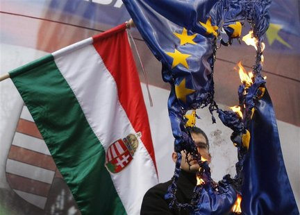 Elod Novak, parliamentary member of Hungarian far-right party Jobbik, burns an EU flag during a demonstration against the European Union, in
