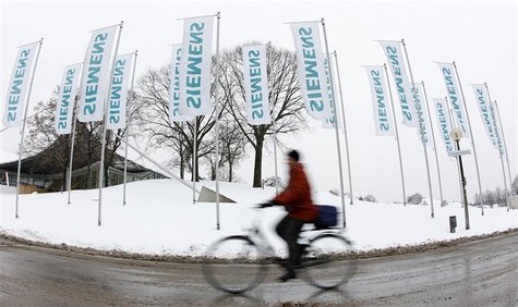 Shareholder arrives for Siemens annual shareholders meeting in Munich