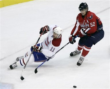Montreal Canadiens Saku Koivu can't get to the puck before Washington Capitals Mike Green during the second period of their NHL hockey actio