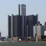 General Motors world headquarters (C) is seen along the Detroit river in downtown Detroit
