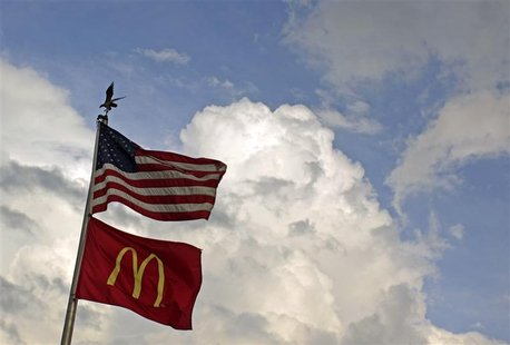 Flags fly at a McDonald's restaurant in Arlington,Virginia