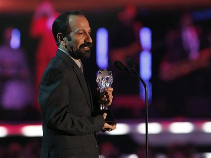 Asghar Farhadi accepts the award for Best Foreign Language film at the 17th Annual Critics' Choice Movie Awards in Los Angeles