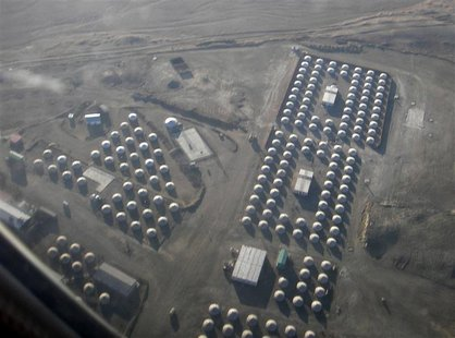 Aerial view of traditional Mongolian tents which will house workers of Oyu Tolgoi copper and gold deposit in Mongolia